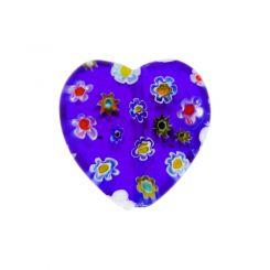Синьо мънисто сърце с мотив цвете 20мм (4бр)