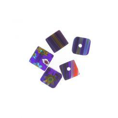 Синьо мънисто кубче с мотив цвете 6х6мм (20бр)